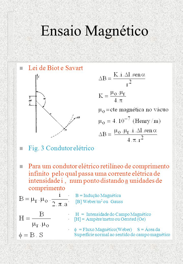 Ensaio Magnético n Lei de Biot e Savart n Fig. 3 Condutor elétrico n Para um condutor elétrico retilíneo de comprimento infinito pelo qual passa uma c