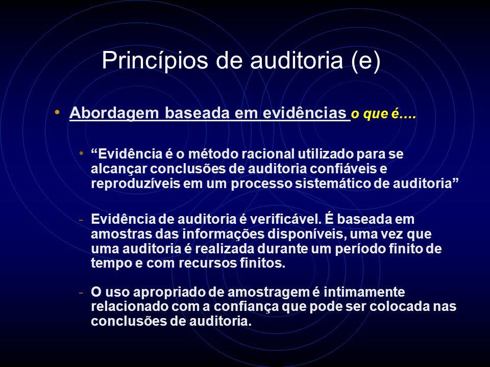 Princípios de auditoria (d) Independência A base para a imparcialidade da auditoria e objetividade das conclusões de auditoria o que é….