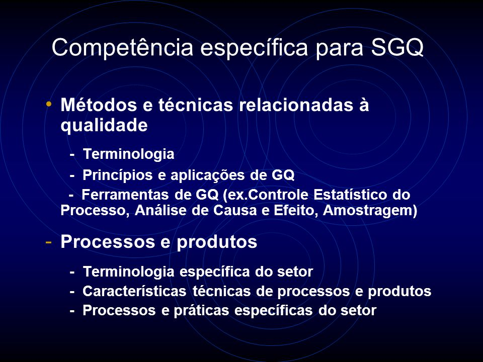 Competência genérica Conhecimento e habilidades necessárias nas seguintes áreas: - Princípios, procedimentos e técnicas de Auditoria - Sistemas de ges
