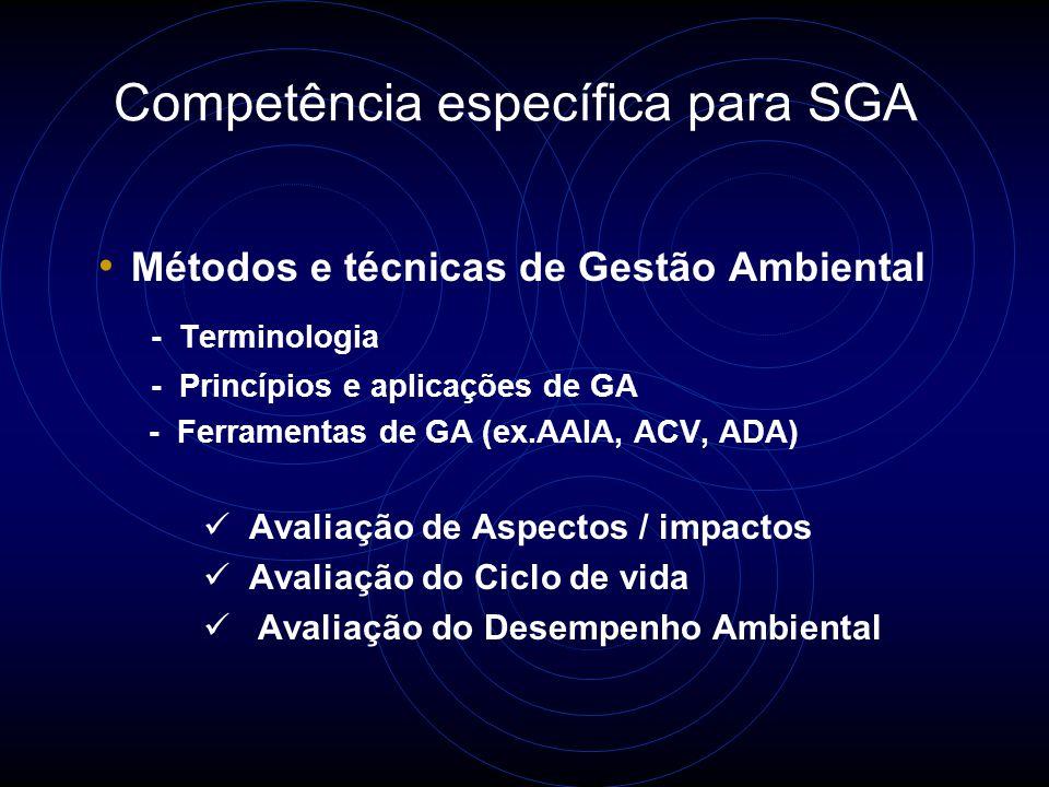 Competência específica para SGQ Métodos e técnicas relacionadas à qualidade - Terminologia - Princípios e aplicações de GQ - Ferramentas de GQ (ex.Controle Estatístico do Processo, Análise de Causa e Efeito, Amostragem) - Processos e produtos - Terminologia específica do setor - Características técnicas de processos e produtos - Processos e práticas específicas do setor