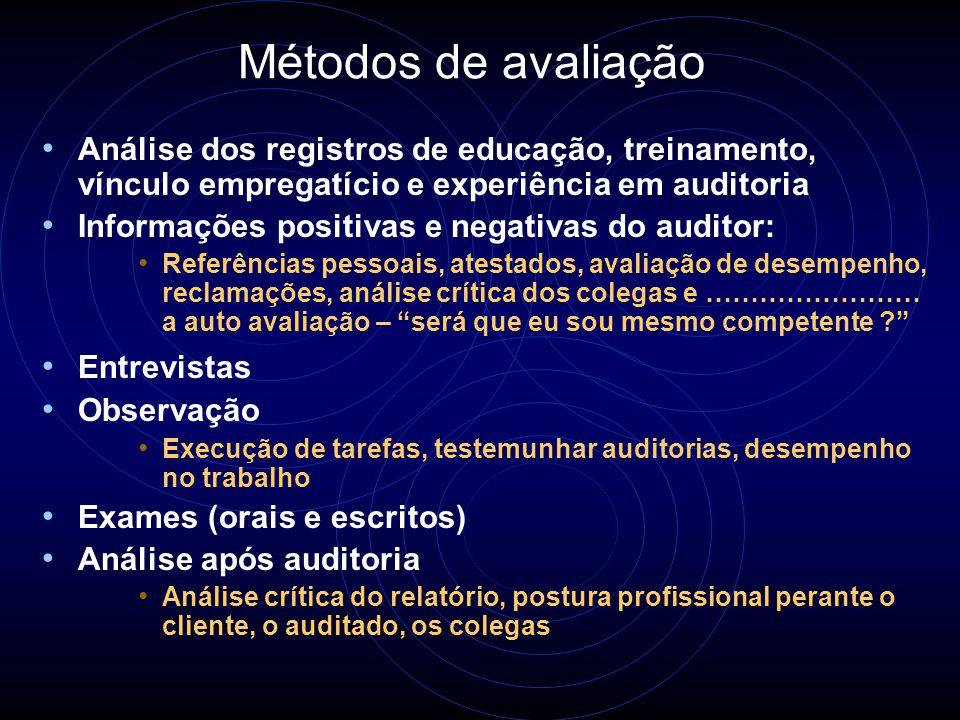 2 - Avaliação de Auditores Avaliação inicial de pessoas que desejam se tornar auditores Avaliação como parte de um processo de seleção de uma equipe Avaliação contínua dos auditores para manutenção e melhoria