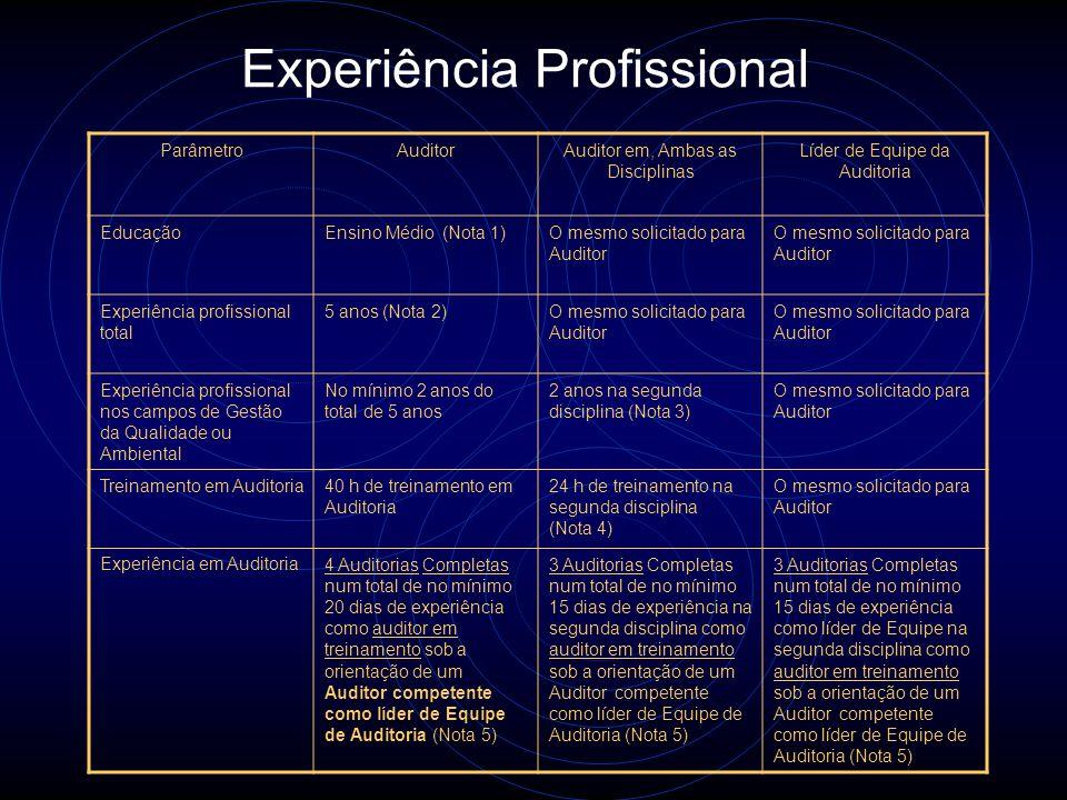 Métodos de avaliação Análise dos registros de educação, treinamento, vínculo empregatício e experiência em auditoria Informações positivas e negativas
