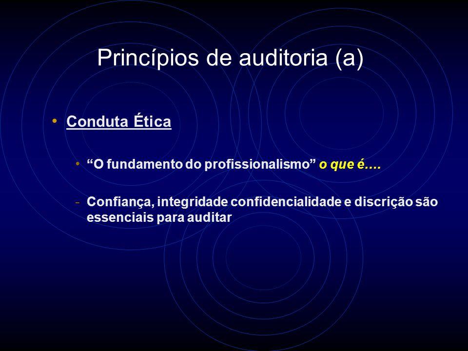 Princípios de Auditoria Estes princípios ajudam o usuário a entender a natureza essencial da auditoria e são a base da NBR 19011: - Relacionados ao auditor: - Conduta ética (confiaça, integridade e discrição) - Apresentação justa (reportar com veracidade e exatidão) - Devido cuidado profissional (aplicação e competência) - Relacionados com o processo de auditoria - Independência (imparcialidade e objetividade nas conclusões) - Abordagem baseada em evidência (método para alcançar conclusões de auditorias confiáveis)