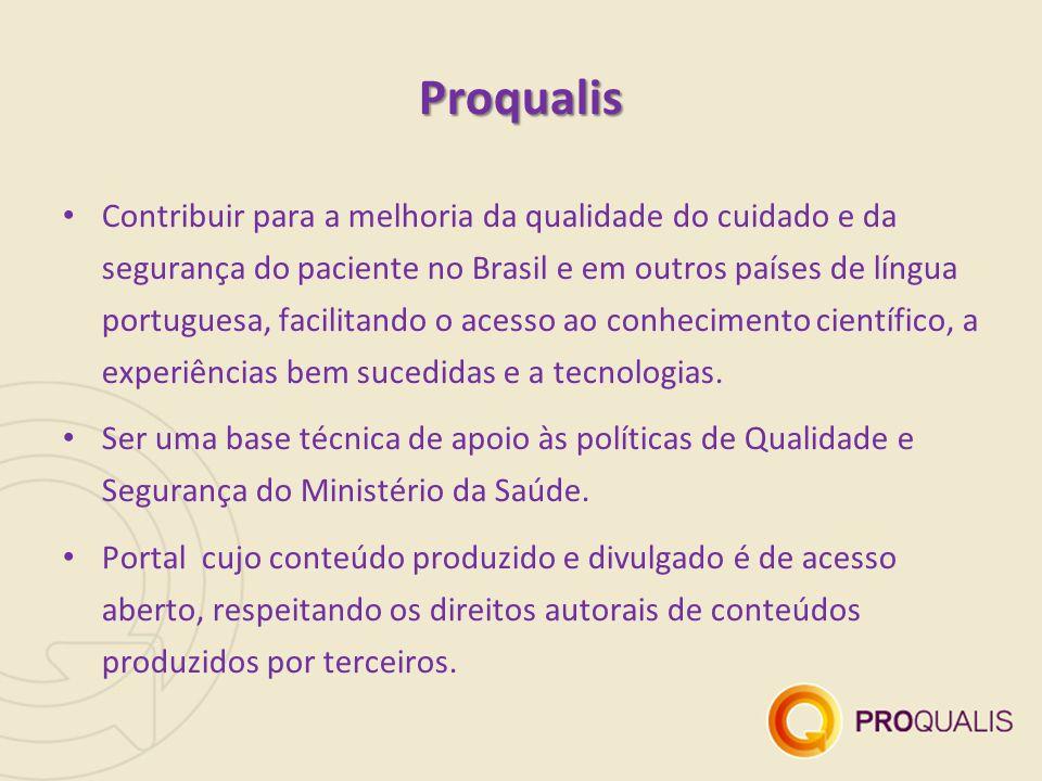 Proqualis Contribuir para a melhoria da qualidade do cuidado e da segurança do paciente no Brasil e em outros países de língua portuguesa, facilitando o acesso ao conhecimento científico, a experiências bem sucedidas e a tecnologias.
