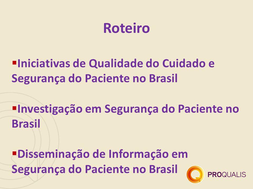 Roteiro  Iniciativas de Qualidade do Cuidado e Segurança do Paciente no Brasil  Investigação em Segurança do Paciente no Brasil  Disseminação de In