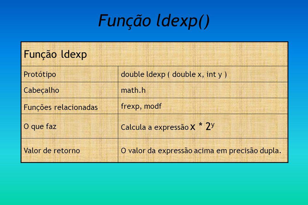 Função ldexp() Função ldexp Protótipodouble ldexp ( double x, int y ) Cabeçalhomath.h Funções relacionadas frexp, modf O que faz Calcula a expressão x * 2 y Valor de retornoO valor da expressão acima em precisão dupla.