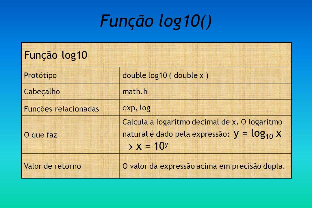Função log10() Função log10 Protótipodouble log10 ( double x ) Cabeçalhomath.h Funções relacionadas exp, log O que faz Calcula a logaritmo decimal de x.