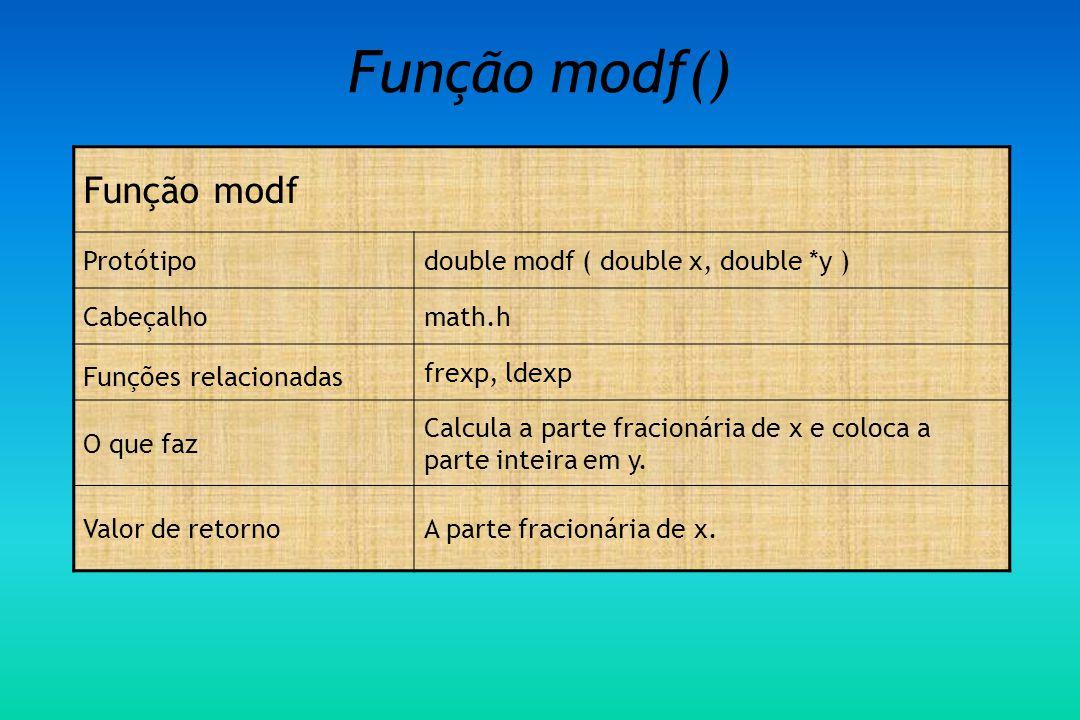 Função modf() Função modf Protótipodouble modf ( double x, double *y ) Cabeçalhomath.h Funções relacionadas frexp, ldexp O que faz Calcula a parte fracionária de x e coloca a parte inteira em y.
