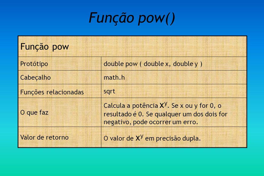 Função pow() Função pow Protótipodouble pow ( double x, double y ) Cabeçalhomath.h Funções relacionadas sqrt O que faz Calcula a potência x y.