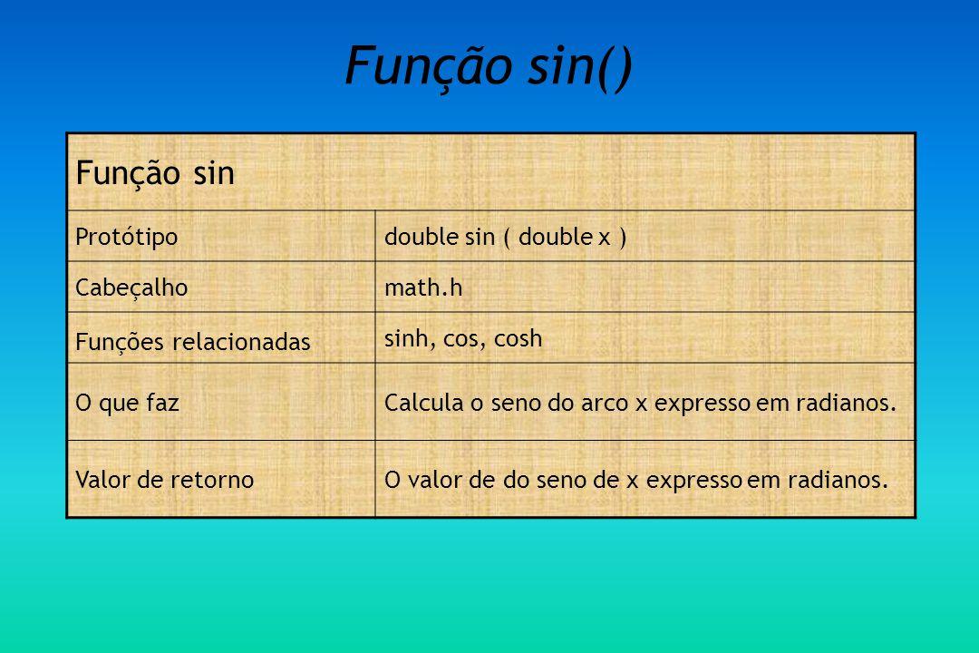 Função sin() Função sin Protótipodouble sin ( double x ) Cabeçalhomath.h Funções relacionadas sinh, cos, cosh O que fazCalcula o seno do arco x expresso em radianos.