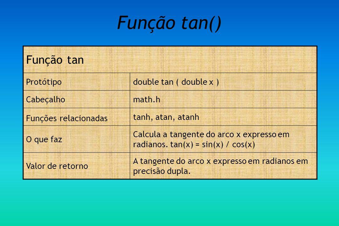 Função tan() Função tan Protótipodouble tan ( double x ) Cabeçalhomath.h Funções relacionadas tanh, atan, atanh O que faz Calcula a tangente do arco x expresso em radianos.