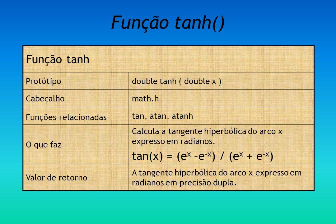 Função tanh() Função tanh Protótipodouble tanh ( double x ) Cabeçalhomath.h Funções relacionadas tan, atan, atanh O que faz Calcula a tangente hiperbólica do arco x expresso em radianos.
