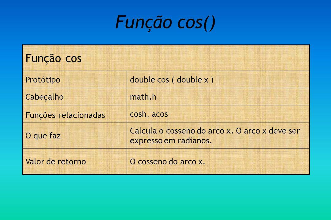 Função cos() Função cos Protótipodouble cos ( double x ) Cabeçalhomath.h Funções relacionadas cosh, acos O que faz Calcula o cosseno do arco x.