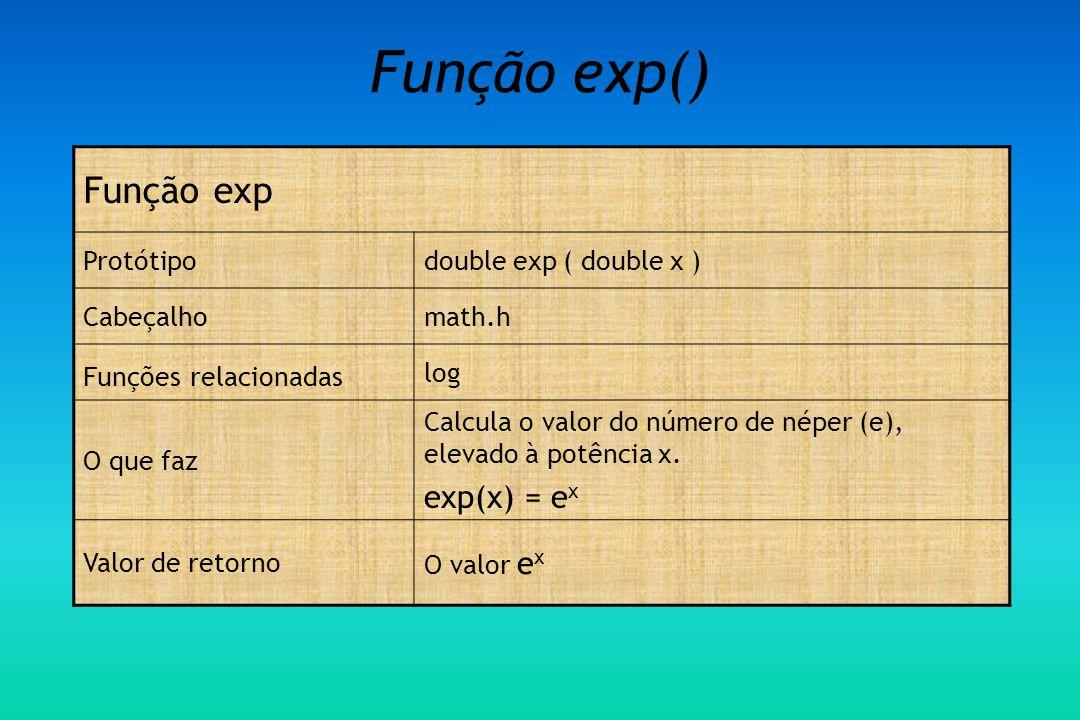 Função exp() Função exp Protótipodouble exp ( double x ) Cabeçalhomath.h Funções relacionadas log O que faz Calcula o valor do número de néper (e), elevado à potência x.