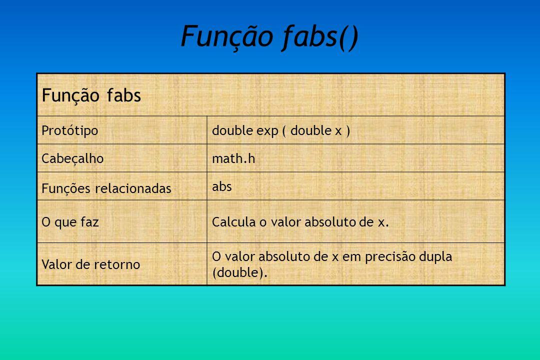 Função fabs() Função fabs Protótipodouble exp ( double x ) Cabeçalhomath.h Funções relacionadas abs O que fazCalcula o valor absoluto de x.
