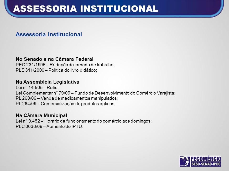 Assessoria Institucional No Senado e na Câmara Federal PEC 231/1995 – Redução da jornada de trabalho; PLS 311/2006 – Política do livro didático; Na As