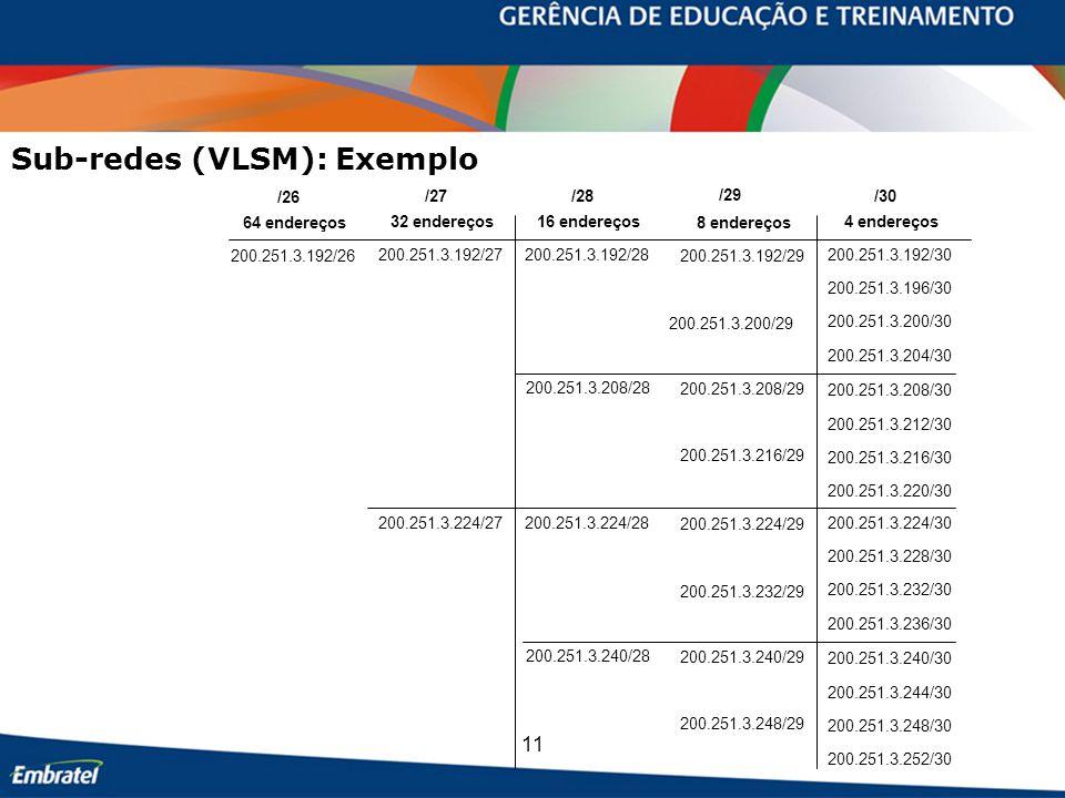 11 Sub-redes (VLSM): Exemplo /26 /27/28 /29 /30 200.251.3.192/26 200.251.3.192/27200.251.3.192/28 200.251.3.200/29 200.251.3.192/29 200.251.3.200/30 2