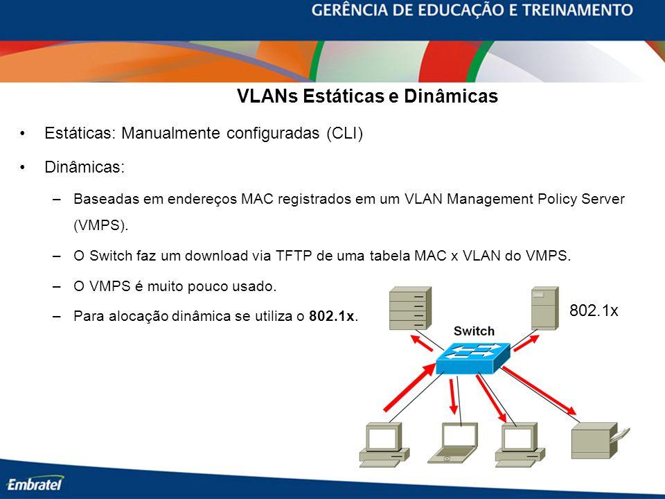 VLANs Estáticas e Dinâmicas Estáticas: Manualmente configuradas (CLI) Dinâmicas: –Baseadas em endereços MAC registrados em um VLAN Management Policy Server (VMPS).