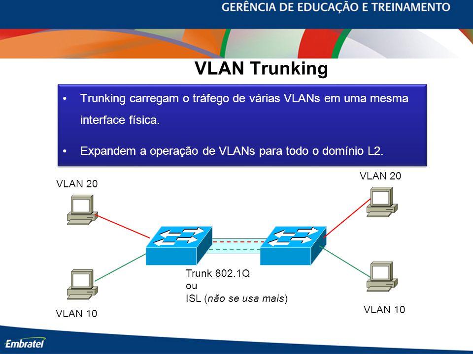 VLAN Trunking Trunking carregam o tráfego de várias VLANs em uma mesma interface física. Expandem a operação de VLANs para todo o domínio L2. Trunking