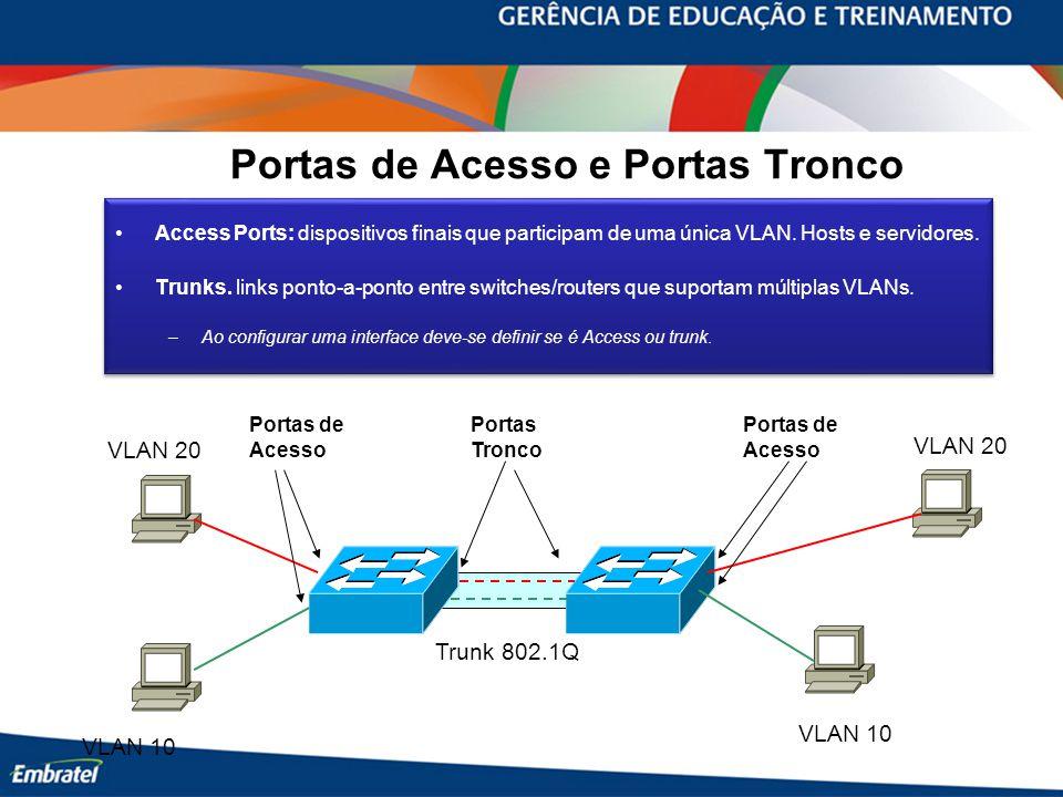 Portas de Acesso e Portas Tronco Access Ports: dispositivos finais que participam de uma única VLAN. Hosts e servidores. Trunks. links ponto-a-ponto e