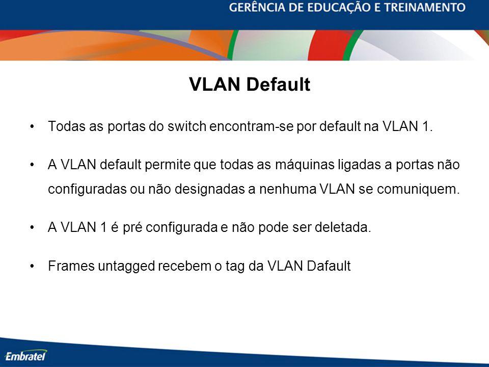 VLAN Default Todas as portas do switch encontram-se por default na VLAN 1. A VLAN default permite que todas as máquinas ligadas a portas não configura