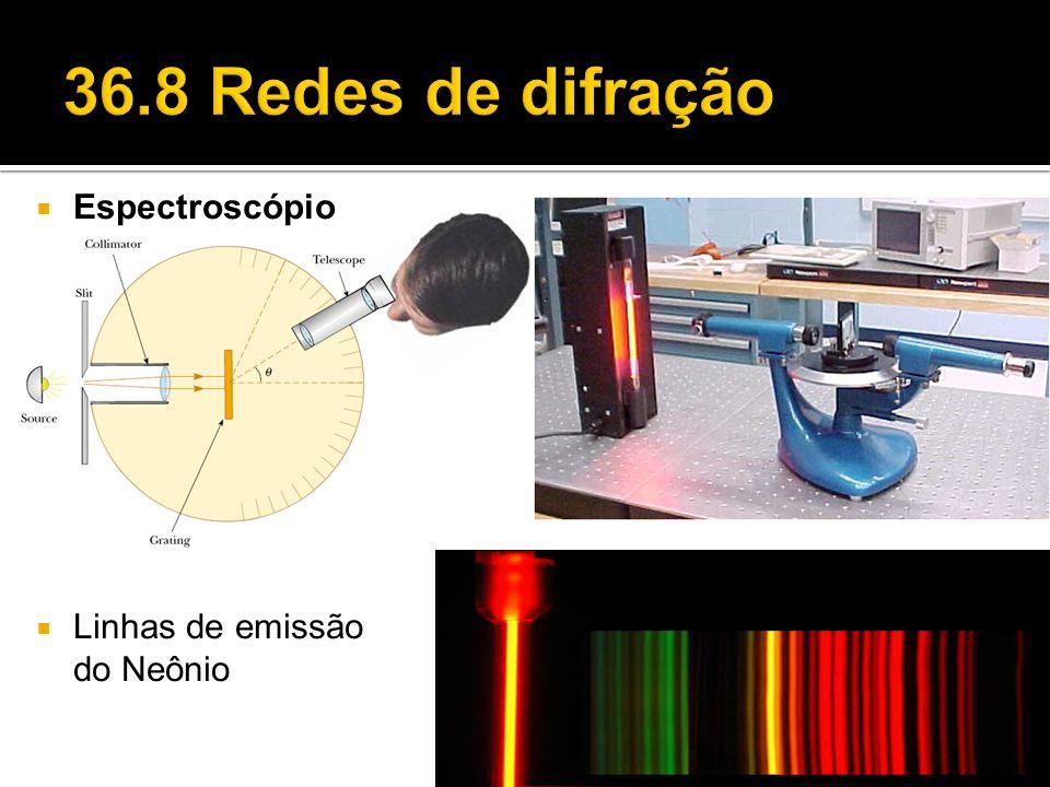  Espectroscópio  Linhas de emissão do Neônio