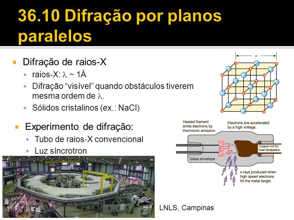 """ Difração de raios-X  raios-X: ~ 1Å  Difração """"visível"""" quando obstáculos tiverem mesma ordem de.  Sólidos cristalinos (ex.: NaCl)  Experimento d"""