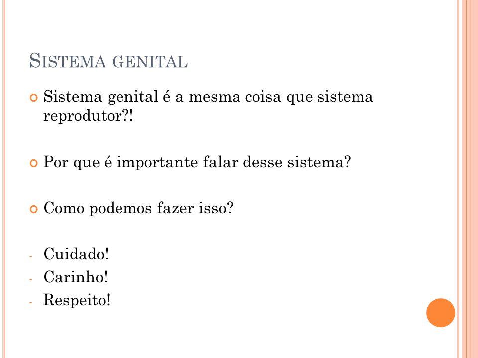 S ISTEMA GENITAL Sistema genital é a mesma coisa que sistema reprodutor?! Por que é importante falar desse sistema? Como podemos fazer isso? - Cuidado