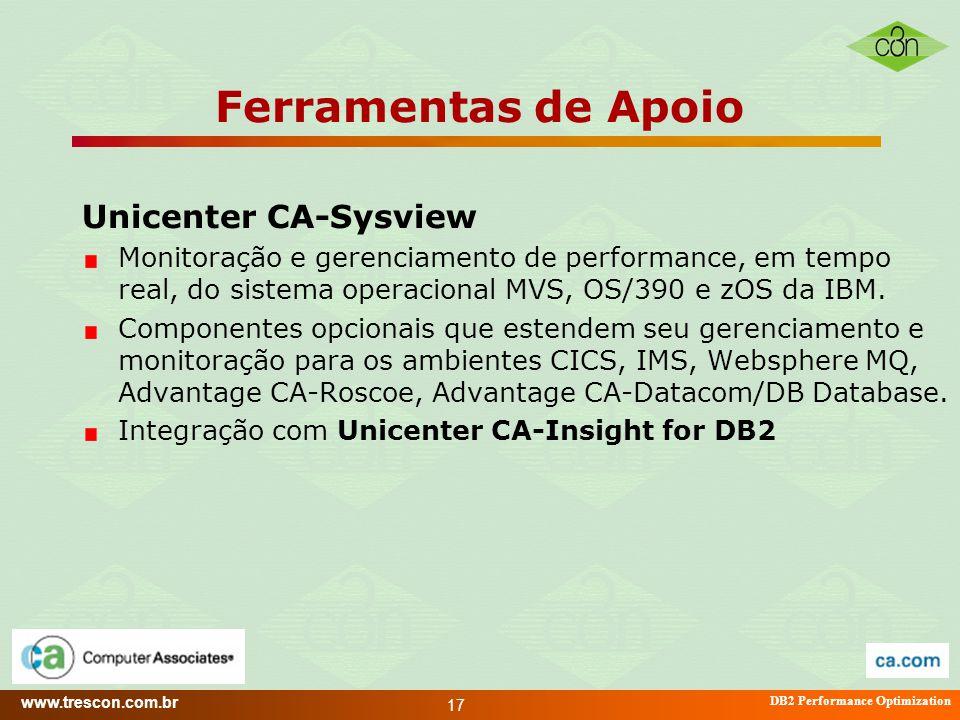 www.trescon.com.br DB2 Performance Optimization 17 Ferramentas de Apoio Unicenter CA-Sysview Monitoração e gerenciamento de performance, em tempo real
