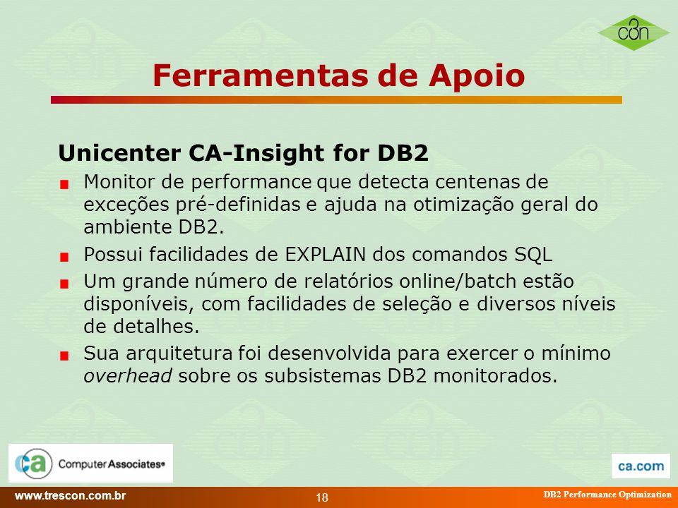 www.trescon.com.br DB2 Performance Optimization 18 Ferramentas de Apoio Unicenter CA-Insight for DB2 Monitor de performance que detecta centenas de ex