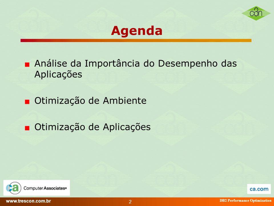 www.trescon.com.br DB2 Performance Optimization 2 Agenda Análise da Importância do Desempenho das Aplicações Otimização de Ambiente Otimização de Apli