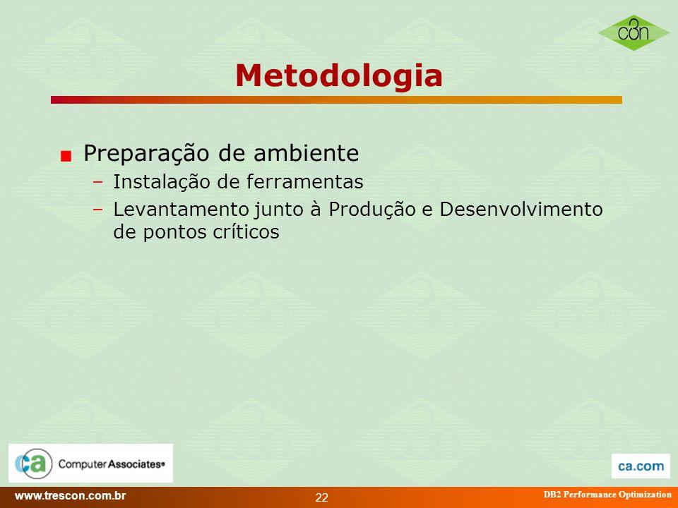 www.trescon.com.br DB2 Performance Optimization 22 Metodologia Preparação de ambiente –Instalação de ferramentas –Levantamento junto à Produção e Dese