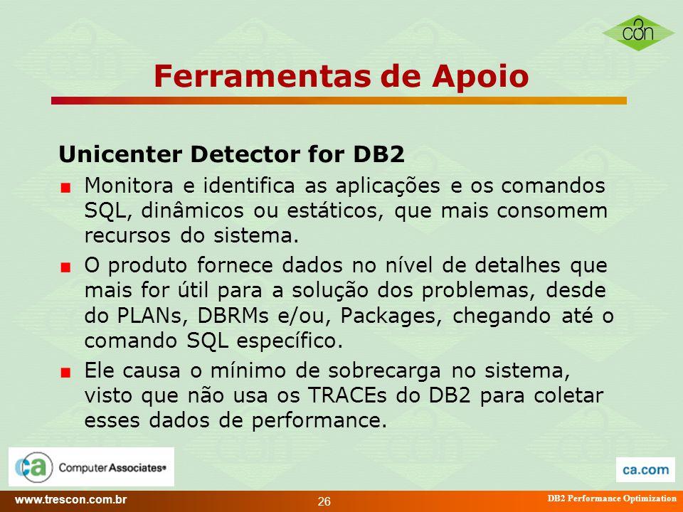 www.trescon.com.br DB2 Performance Optimization 26 Ferramentas de Apoio Unicenter Detector for DB2 Monitora e identifica as aplicações e os comandos S