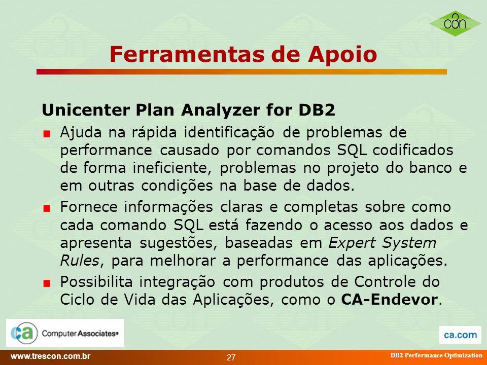 www.trescon.com.br DB2 Performance Optimization 27 Ferramentas de Apoio Unicenter Plan Analyzer for DB2 Ajuda na rápida identificação de problemas de