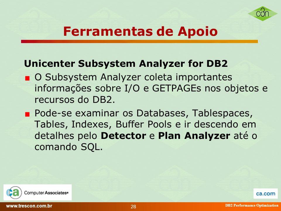 www.trescon.com.br DB2 Performance Optimization 28 Ferramentas de Apoio Unicenter Subsystem Analyzer for DB2 O Subsystem Analyzer coleta importantes i
