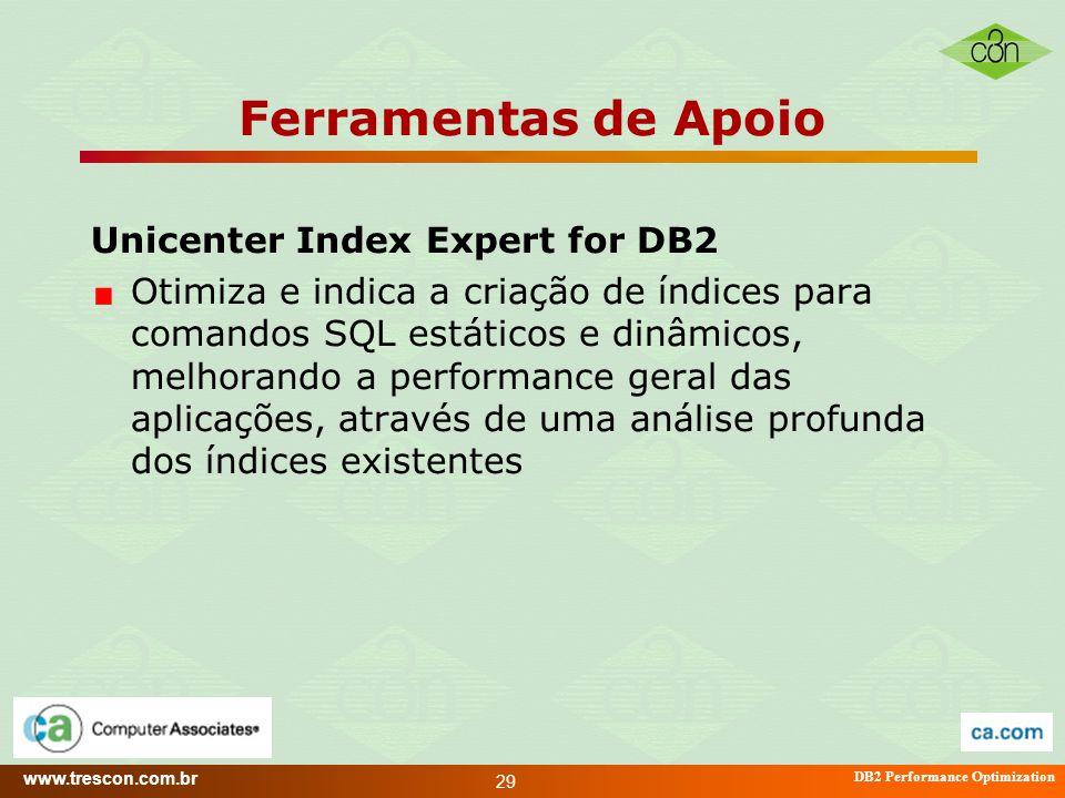 www.trescon.com.br DB2 Performance Optimization 29 Ferramentas de Apoio Unicenter Index Expert for DB2 Otimiza e indica a criação de índices para coma