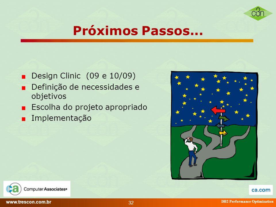 www.trescon.com.br DB2 Performance Optimization 32 Próximos Passos... Design Clinic (09 e 10/09) Definição de necessidades e objetivos Escolha do proj