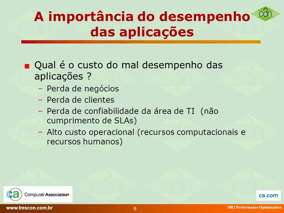 www.trescon.com.br DB2 Performance Optimization 6 A importância do desempenho das aplicações Qual é o custo do mal desempenho das aplicações ? –Perda