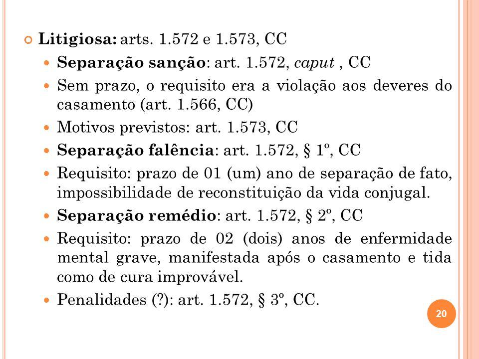Litigiosa: arts. 1.572 e 1.573, CC Separação sanção : art. 1.572, caput, CC Sem prazo, o requisito era a violação aos deveres do casamento (art. 1.566