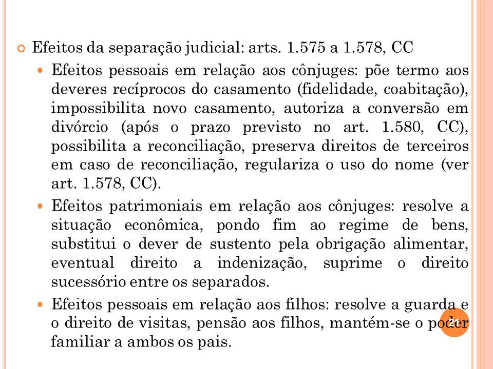 Efeitos da separação judicial: arts. 1.575 a 1.578, CC Efeitos pessoais em relação aos cônjuges: põe termo aos deveres recíprocos do casamento (fideli