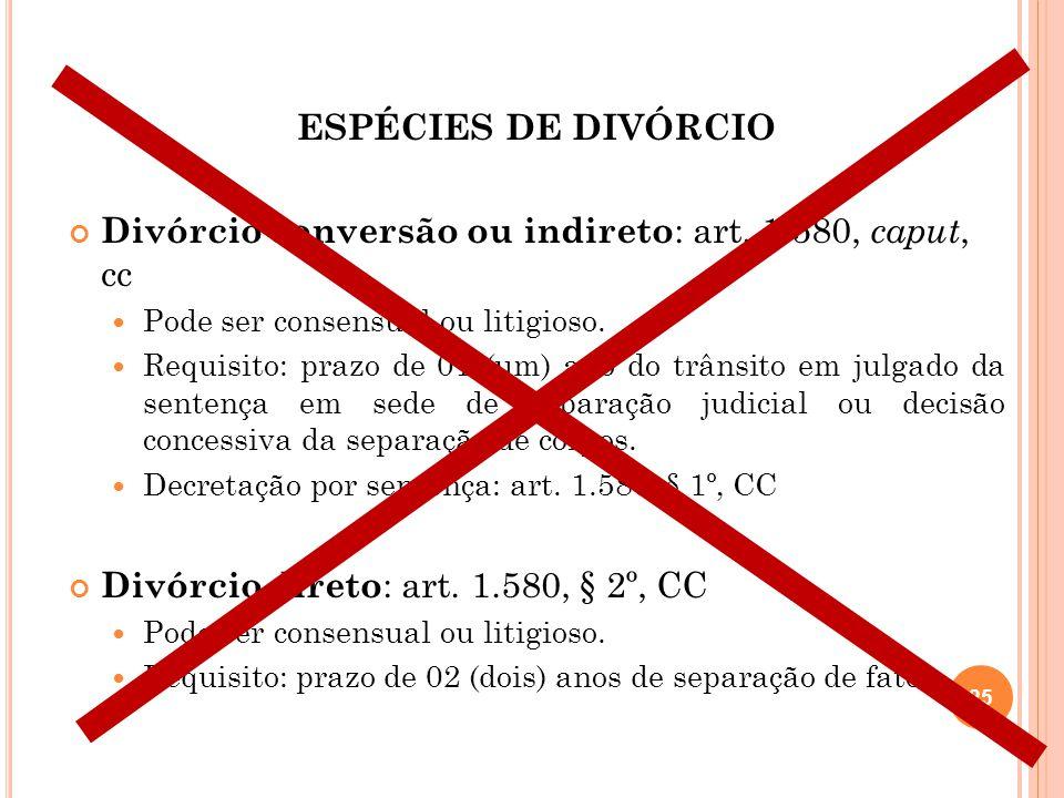 ESPÉCIES DE DIVÓRCIO Divórcio conversão ou indireto : art. 1.580, caput, cc Pode ser consensual ou litigioso. Requisito: prazo de 01 (um) ano do trâns