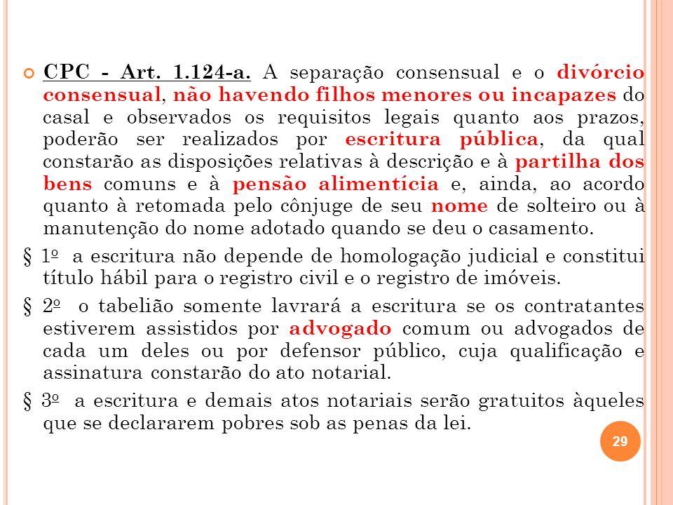 CPC - Art. 1.124-a. A separação consensual e o divórcio consensual, não havendo filhos menores ou incapazes do casal e observados os requisitos legais