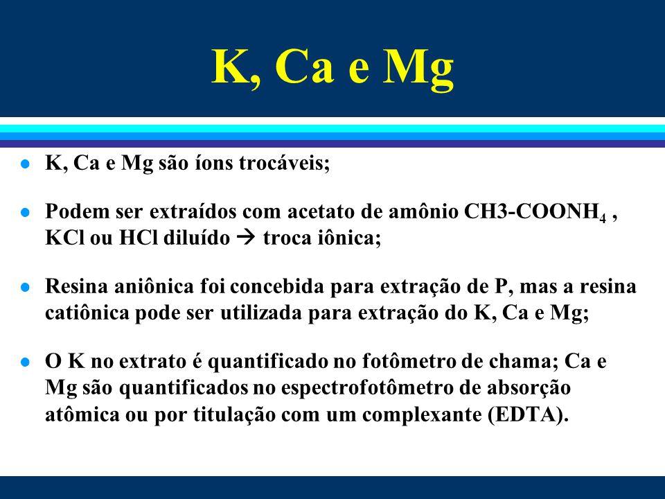 K, Ca e Mg l K, Ca e Mg são íons trocáveis; l Podem ser extraídos com acetato de amônio CH3-COONH 4, KCl ou HCl diluído  troca iônica; l Resina aniôn
