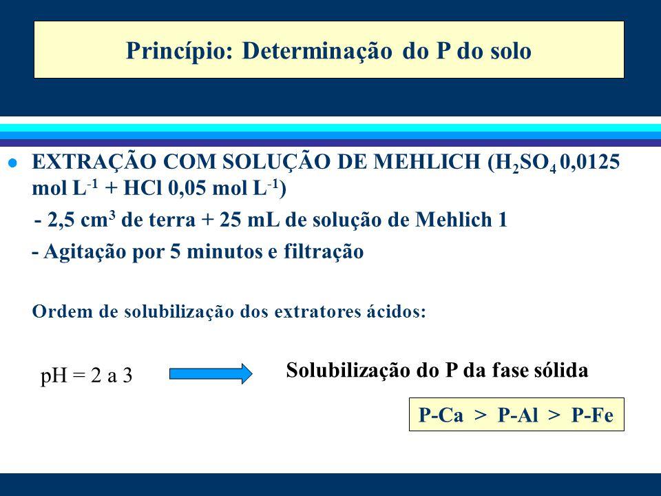 l EXTRAÇÃO COM SOLUÇÃO DE MEHLICH (H 2 SO 4 0,0125 mol L -1 + HCl 0,05 mol L -1 ) - 2,5 cm 3 de terra + 25 mL de solução de Mehlich 1 - Agitação por 5