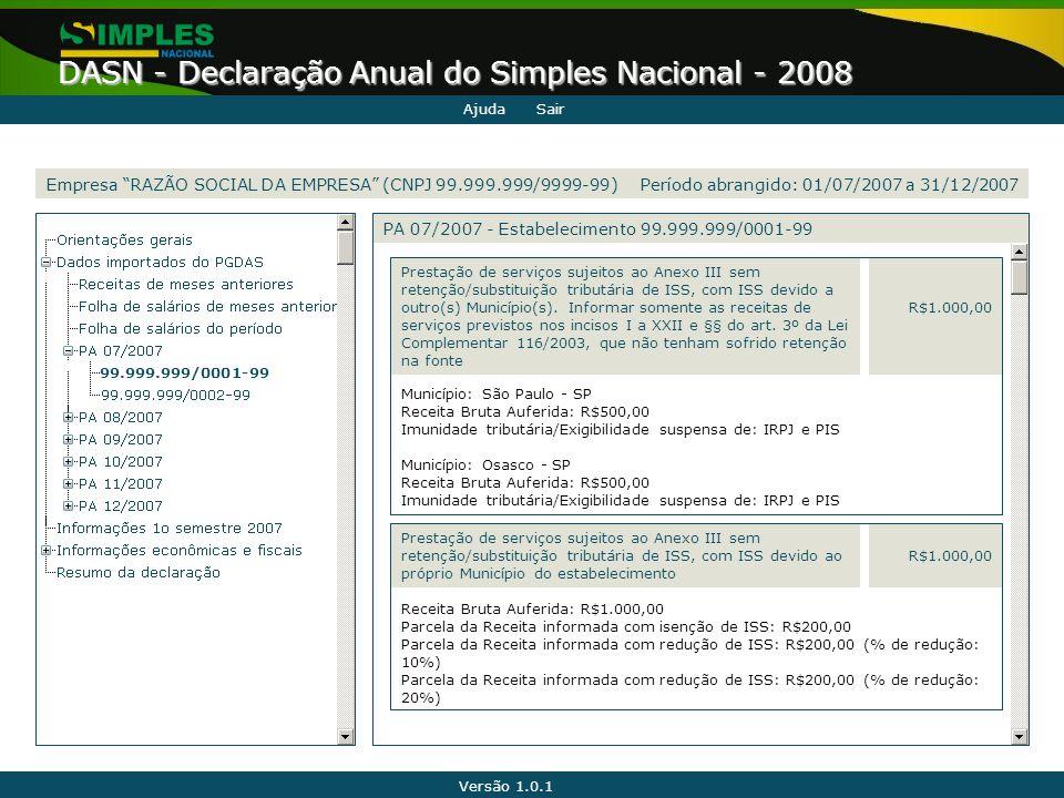 Versão 1.0.1 DASN - Declaração Anual do Simples Nacional - 2008 99.999.999/0001-99 Município: São Paulo - SP Receita Bruta Auferida: R$500,00 Imunidad