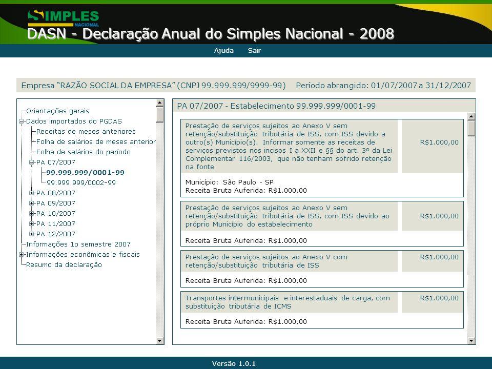 Versão 1.0.1 DASN - Declaração Anual do Simples Nacional - 2008 99.999.999/0001-99 Município: São Paulo - SP Receita Bruta Auferida: R$1.000,00 R$1.00