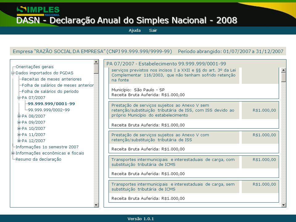 Versão 1.0.1 DASN - Declaração Anual do Simples Nacional - 2008 99.999.999/0001-99 serviços previstos nos incisos I a XXII e §§ do art. 3º da Lei Comp