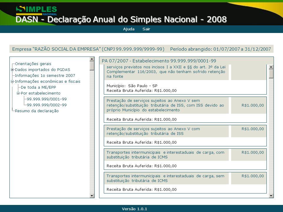 """Versão 1.0.1 DASN - Declaração Anual do Simples Nacional - 2008 Empresa """"RAZÃO SOCIAL DA EMPRESA"""" (CNPJ 99.999.999/9999-99) serviços previstos nos inc"""