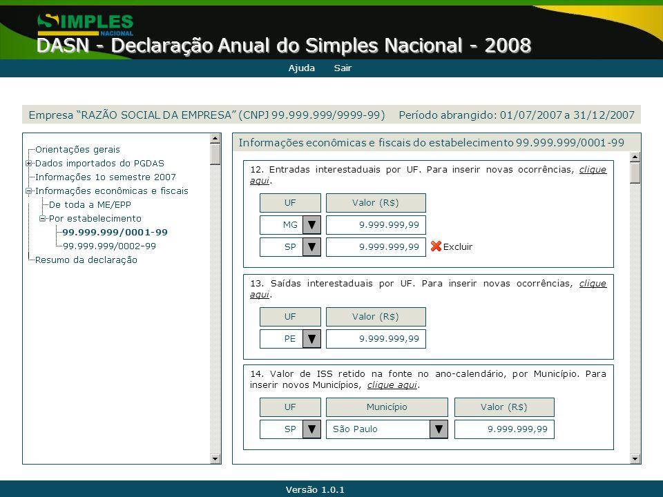 Versão 1.0.1 DASN - Declaração Anual do Simples Nacional - 2008 99.999.999/0001-99 Informações econômicas e fiscais do estabelecimento 99.999.999/0001