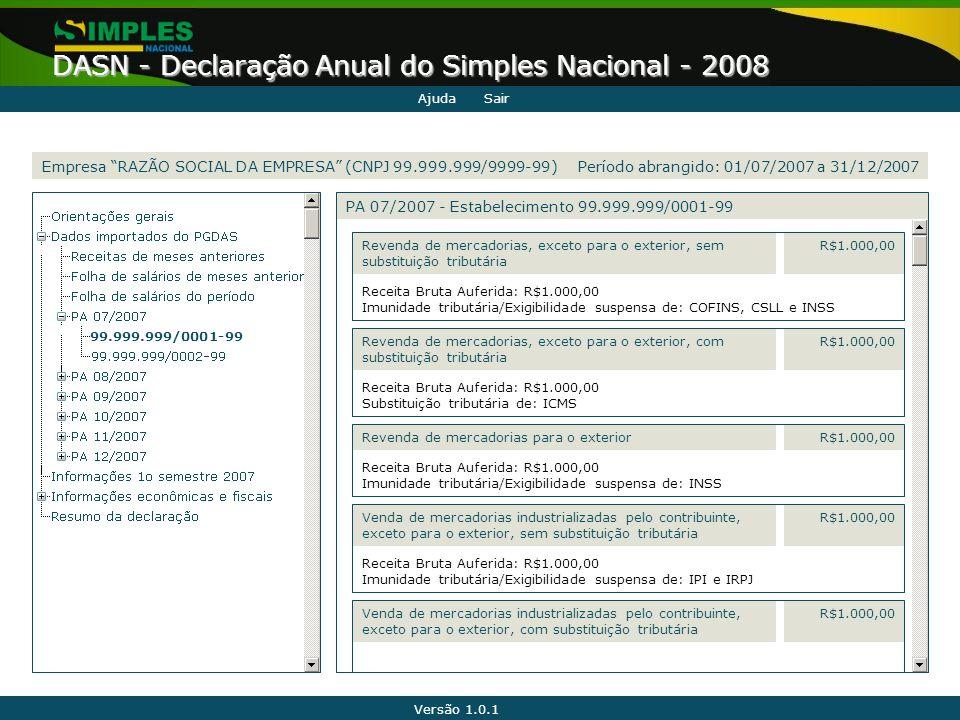 Versão 1.0.1 DASN - Declaração Anual do Simples Nacional - 2008 99.999.999/0001-99 Receita Bruta Auferida: R$1.000,00 Imunidade tributária/Exigibilida
